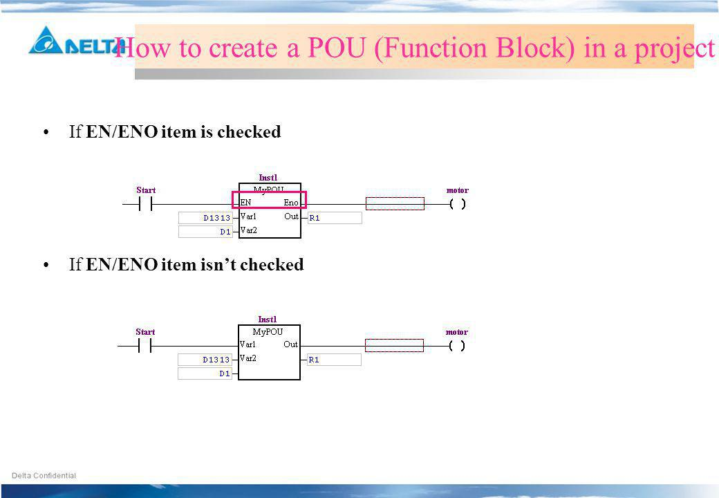 How to create a POU (Function Block) in a project