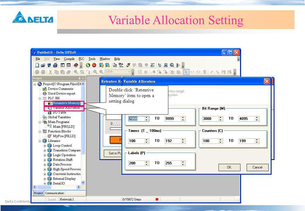 Retentive Memory Setting Variable Allocation Setting