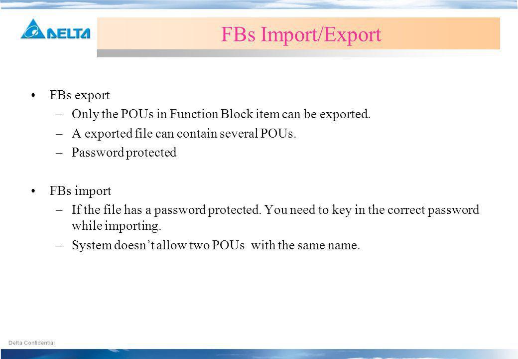 FBs Import/Export FBs export