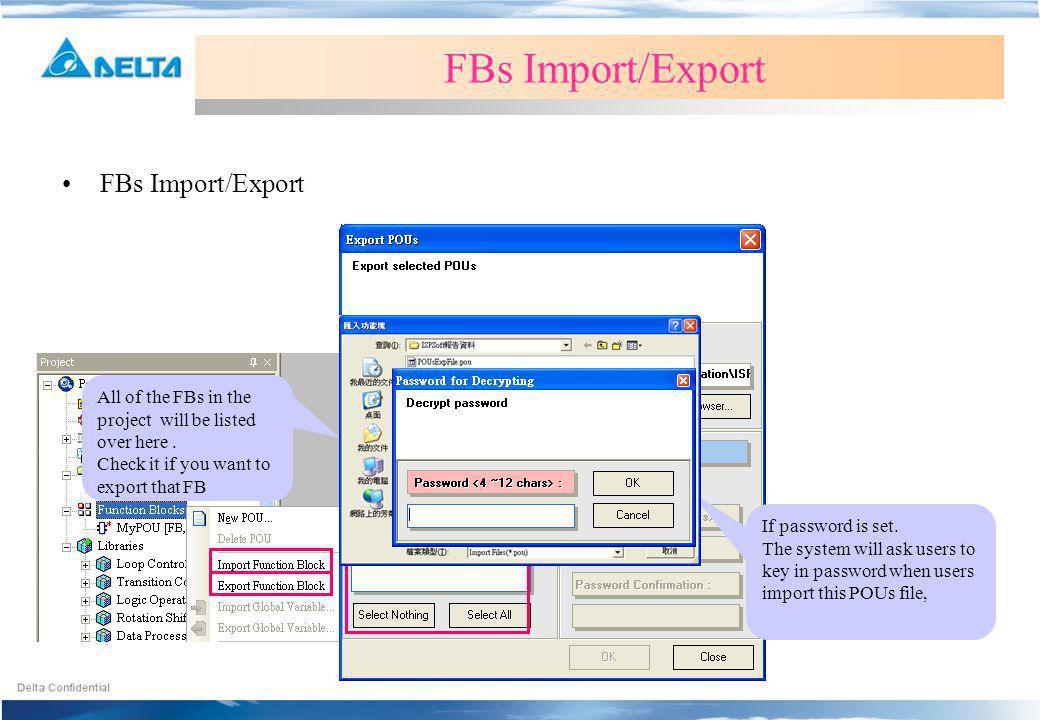 FBs Import/Export FBs Import/Export