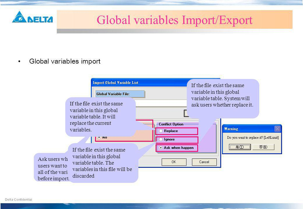 Global variables Import/Export