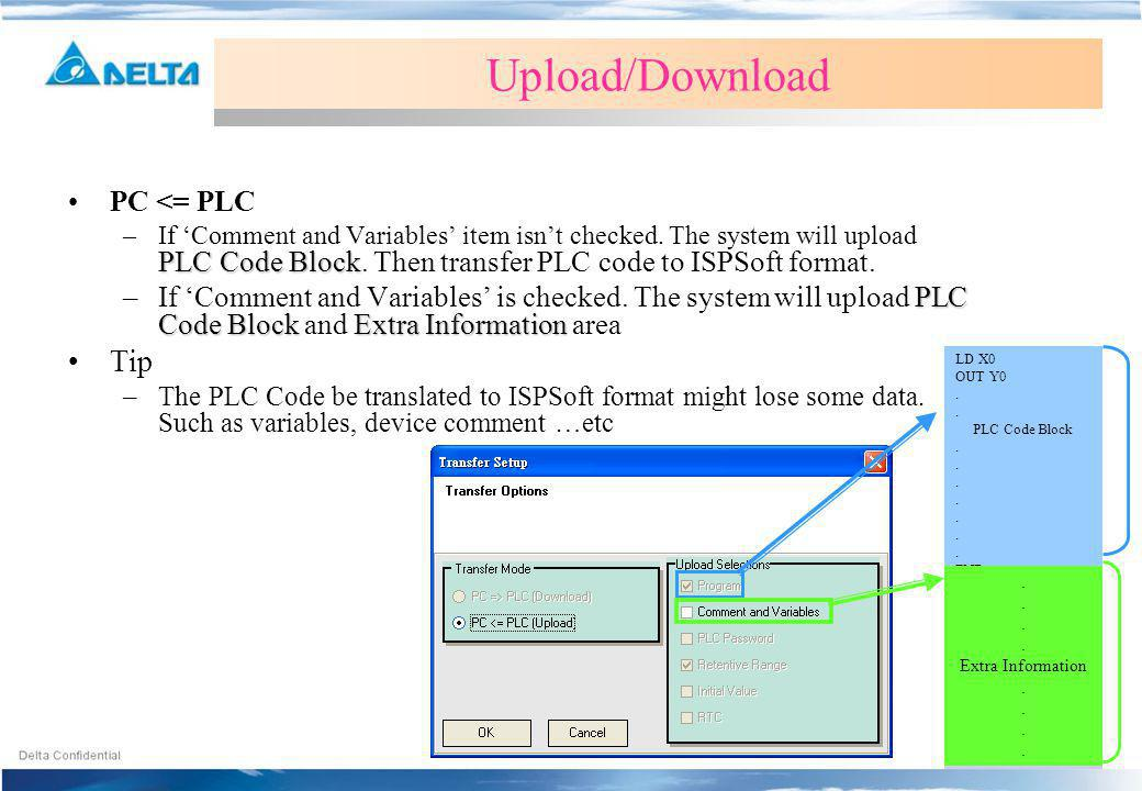 Upload/Download Tip PC <= PLC