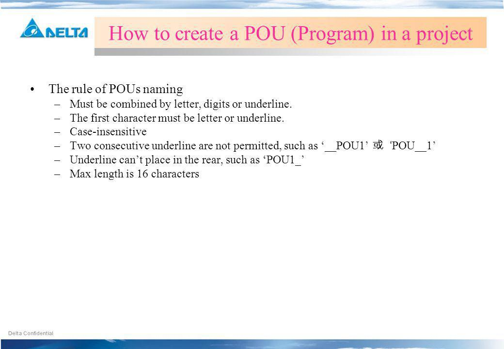 How to create a POU (Program) in a project