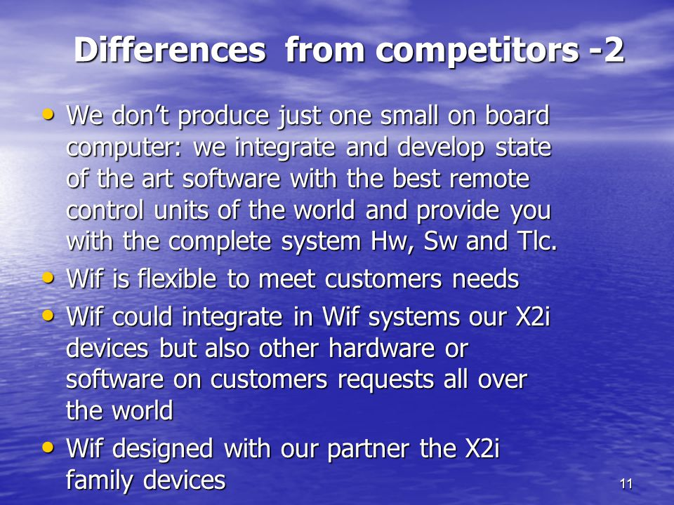 Differences from competitors -2