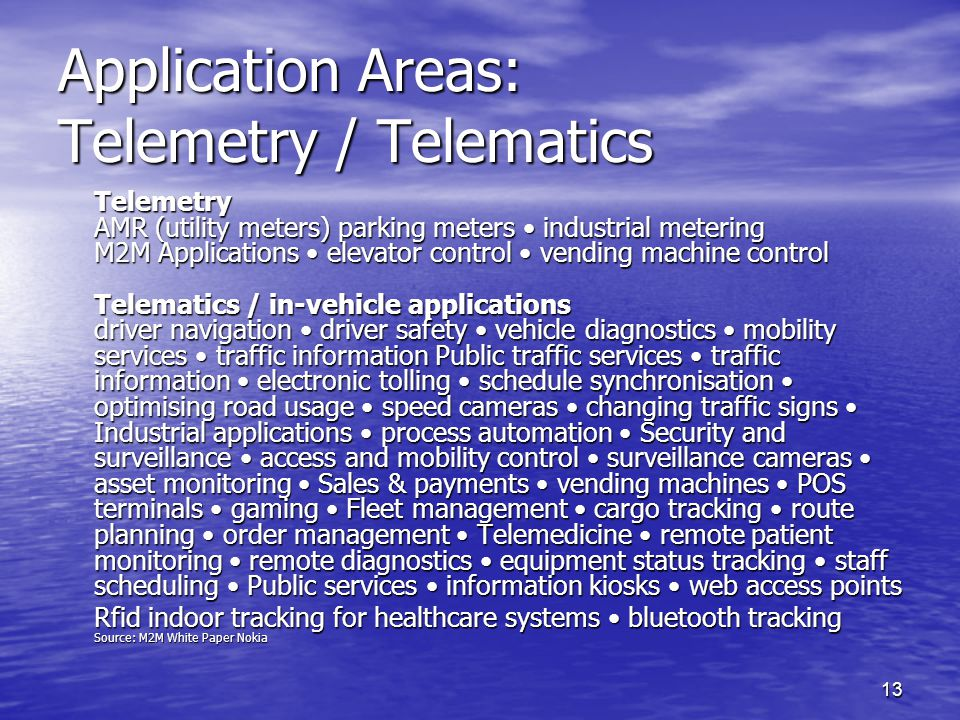 Application Areas: Telemetry / Telematics