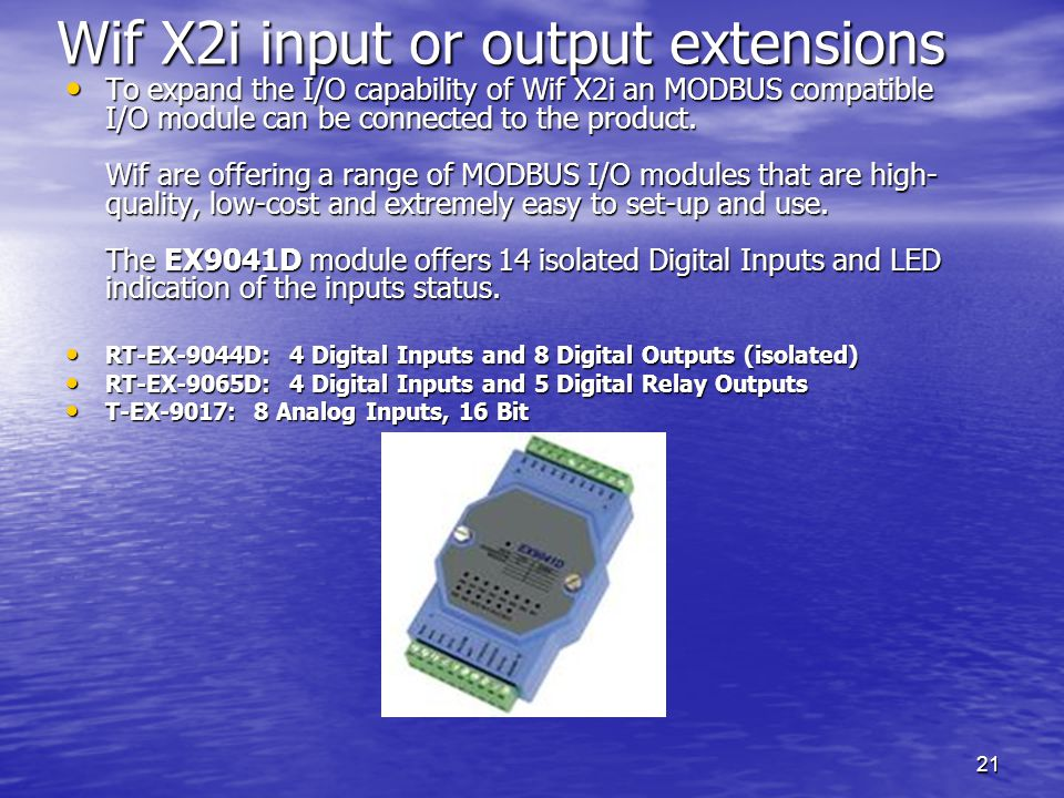 Wif X2i input or output extensions