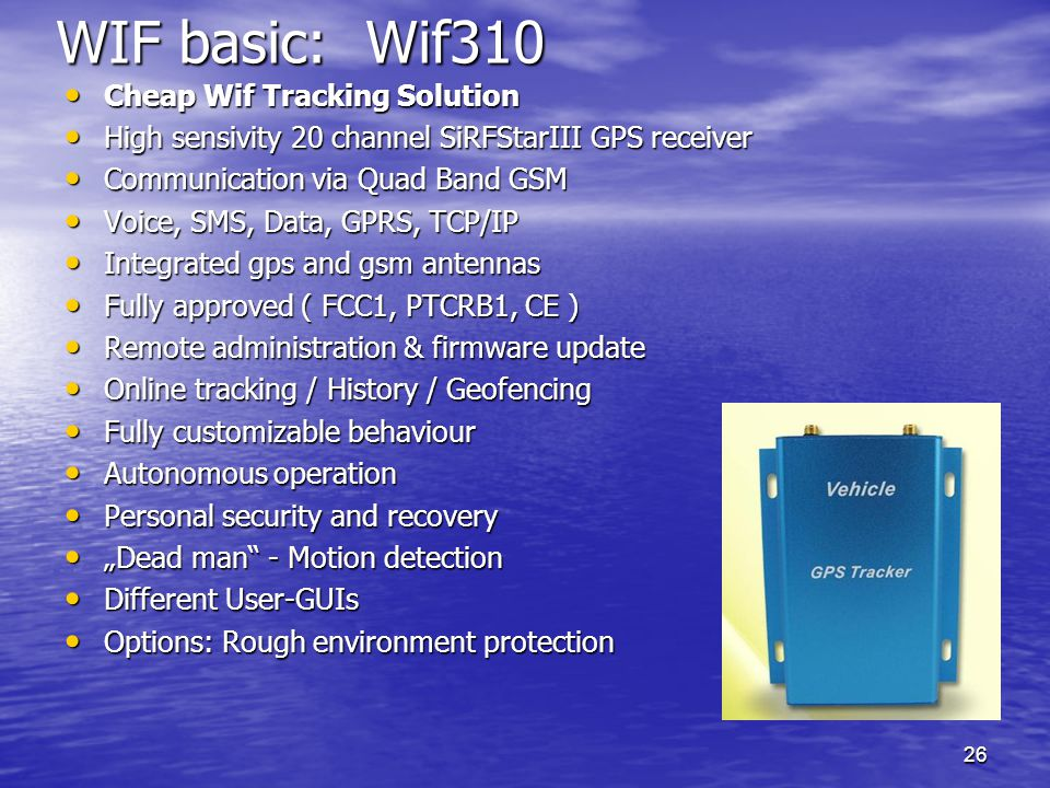 WIF basic: Wif310 Cheap Wif Tracking Solution