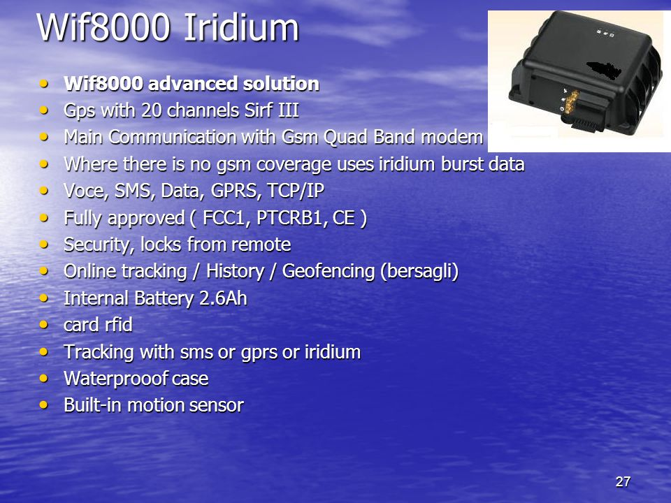 Wif8000 Iridium Wif8000 advanced solution