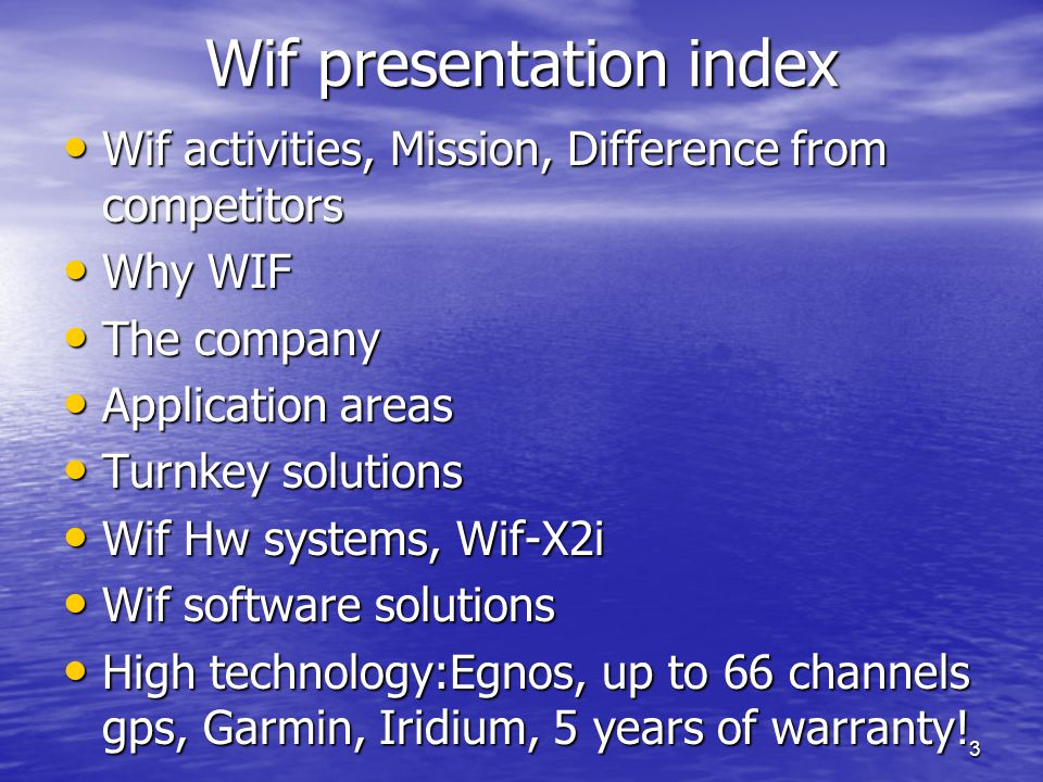 Wif presentation index
