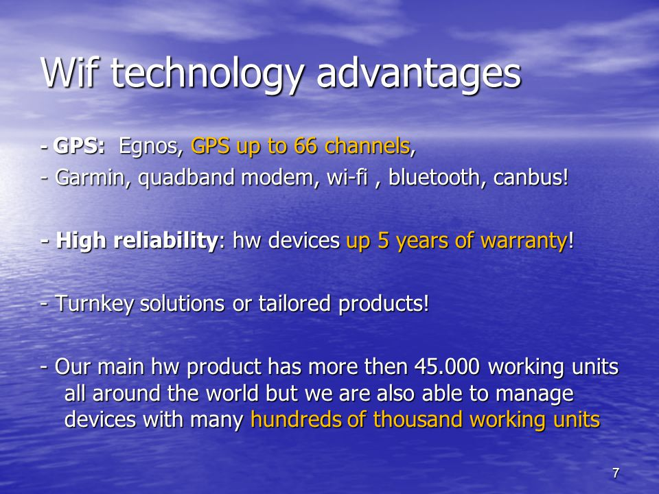 Wif technology advantages