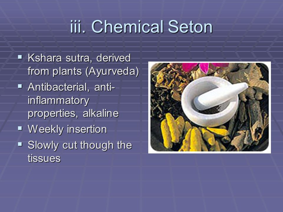 iii. Chemical Seton Kshara sutra, derived from plants (Ayurveda)