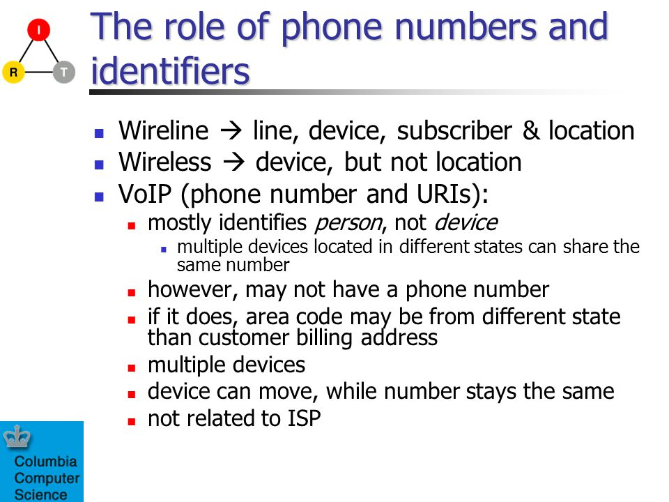The role of phone numbers and identifiers