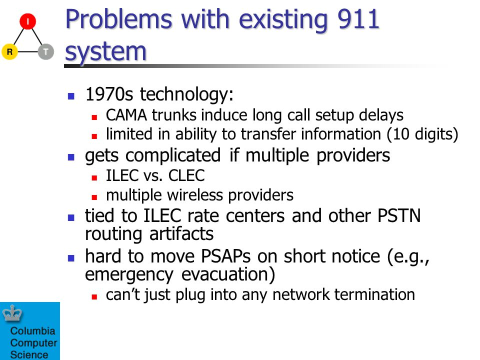 Problems with existing 911 system