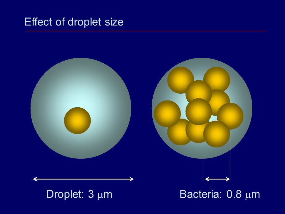 Effect of droplet size Droplet: 3 mm Bacteria: 0.8 mm