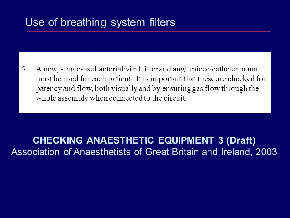Use of breathing system filters