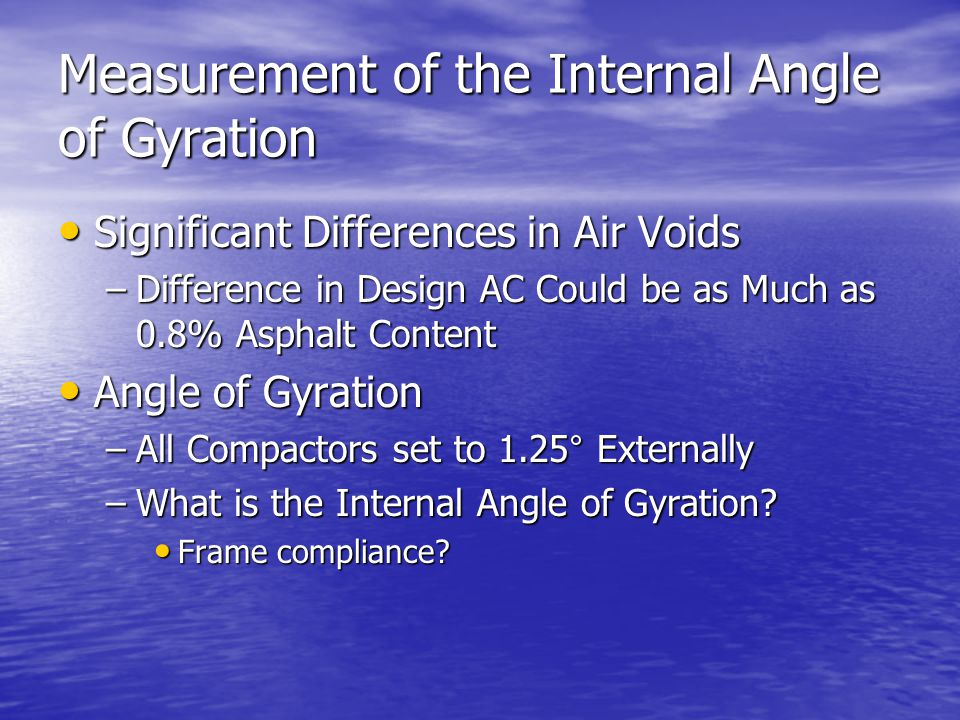 Measurement of the Internal Angle of Gyration