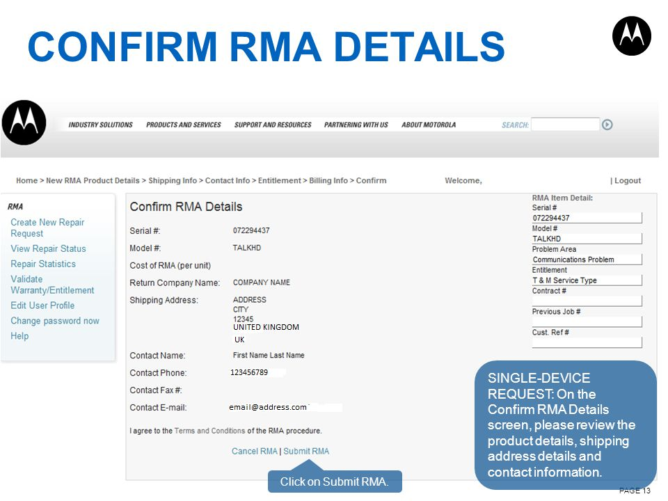 CONFIRM RMA DETAILS