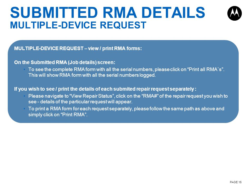 SUBMITTED RMA DETAILS MULTIPLE-DEVICE REQUEST