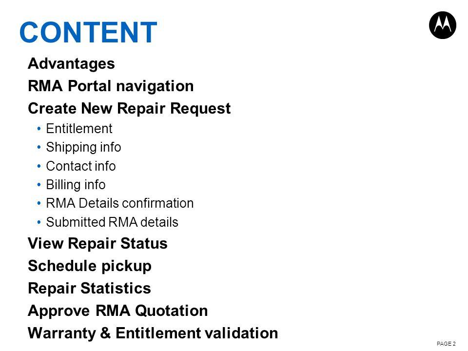 Content Advantages RMA Portal navigation Create New Repair Request