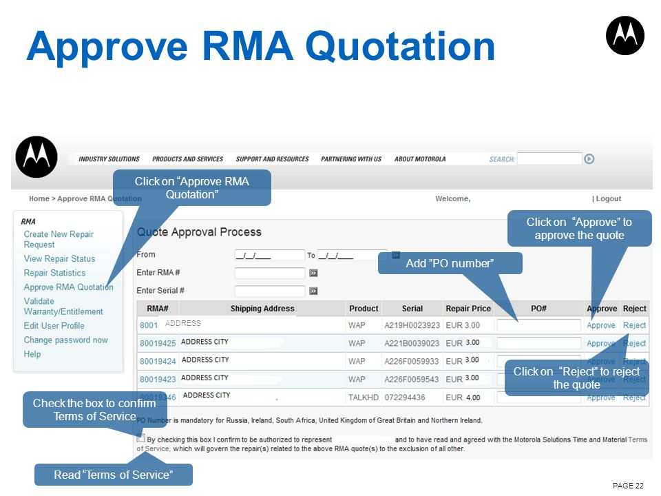 Approve RMA Quotation Click on Approve RMA Quotation
