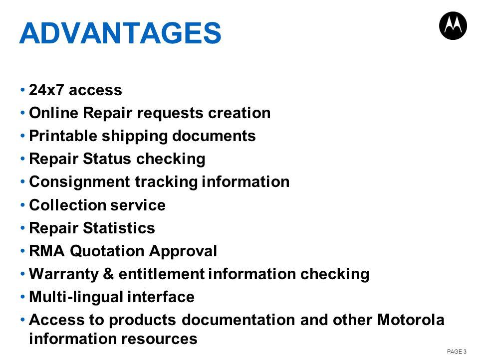 Advantages 24x7 access Online Repair requests creation