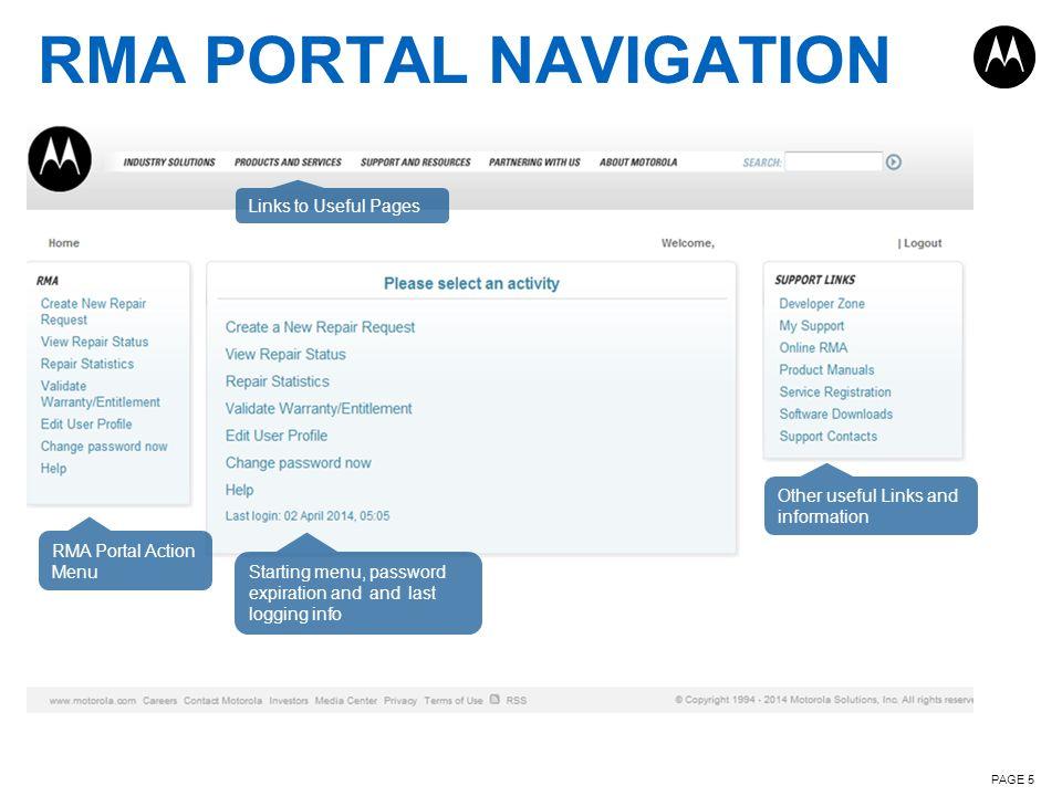 RMA PORTAL NAVIGATION Links to Useful Pages
