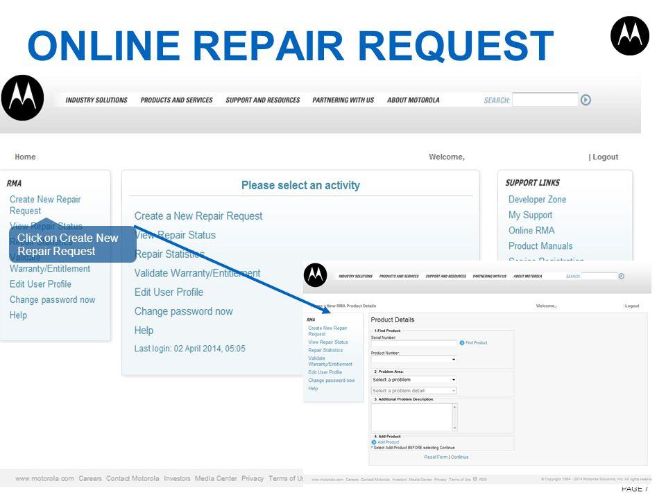 ONLINE REPAIR REQUEST Click on Create New Repair Request