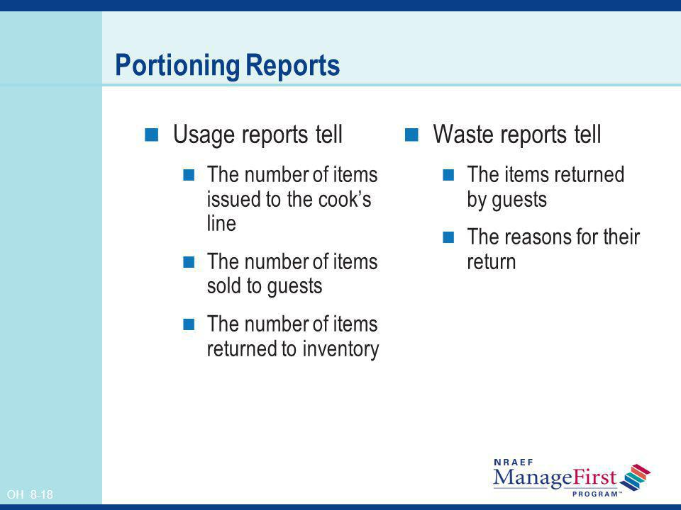 Portioning Reports Usage reports tell Waste reports tell