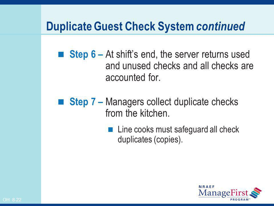 Duplicate Guest Check System continued