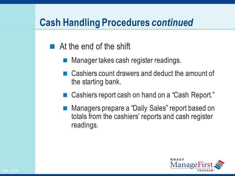 Cash Handling Procedures continued