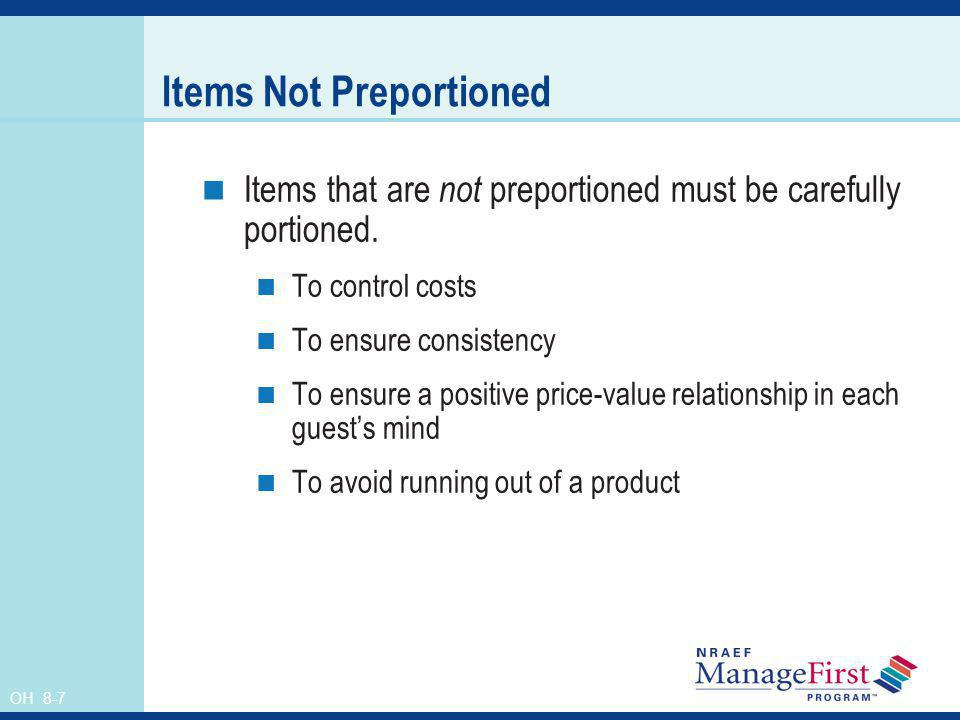 Items Not Preportioned