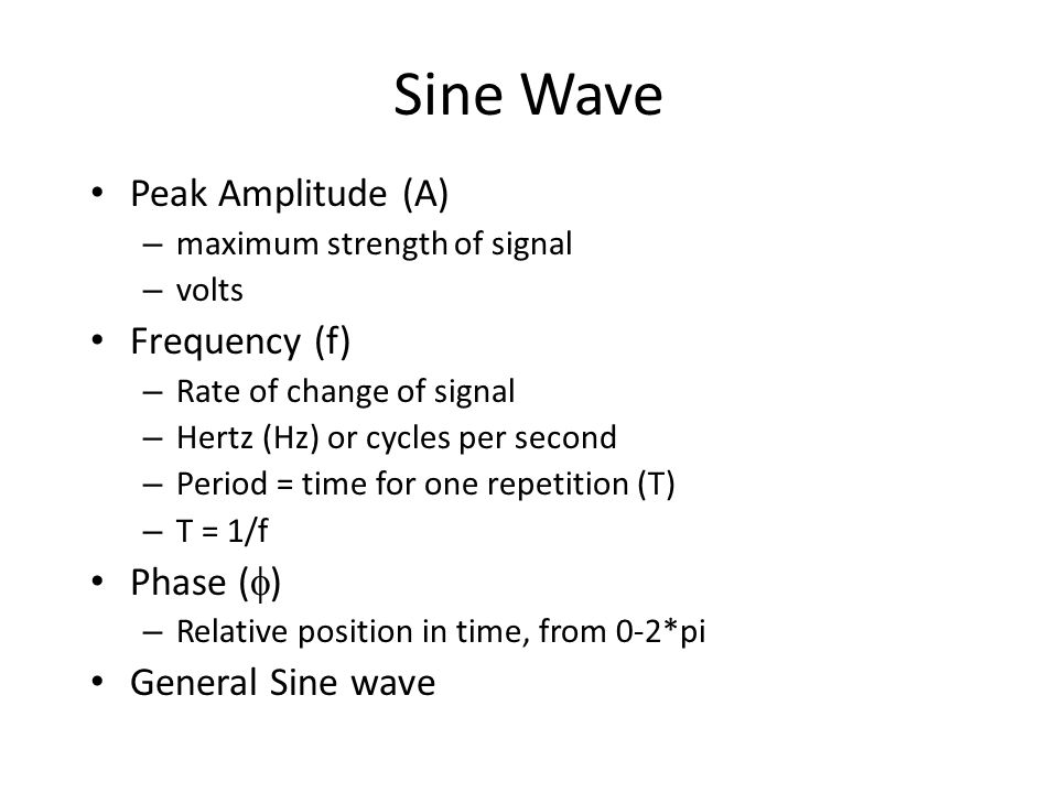 Sine Wave Peak Amplitude (A) Frequency (f) Phase () General Sine wave