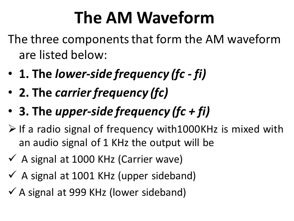 The AM Waveform The three components that form the AM waveform are listed below: 1. The lower-side frequency (fc - fi)
