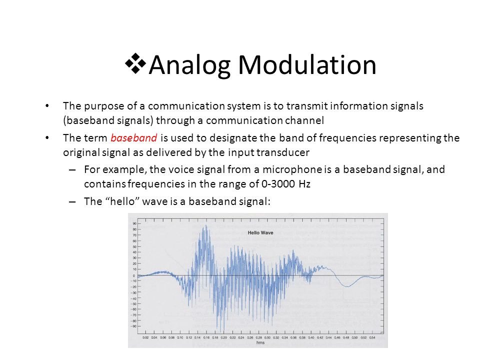 Analog Modulation The purpose of a communication system is to transmit information signals (baseband signals) through a communication channel.