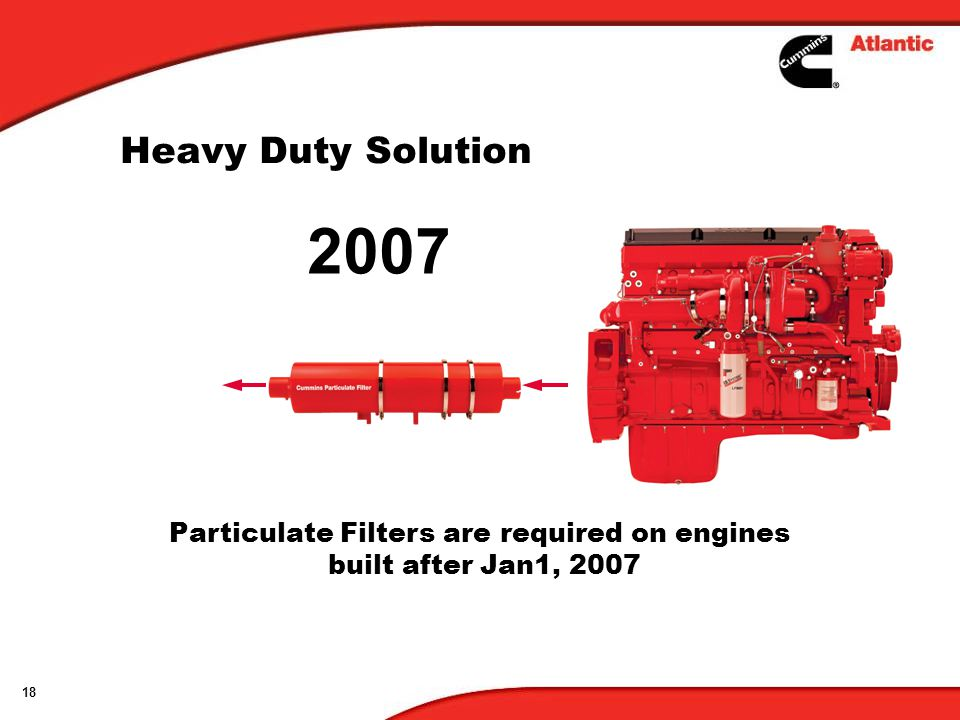 Particulate Filters are required on engines