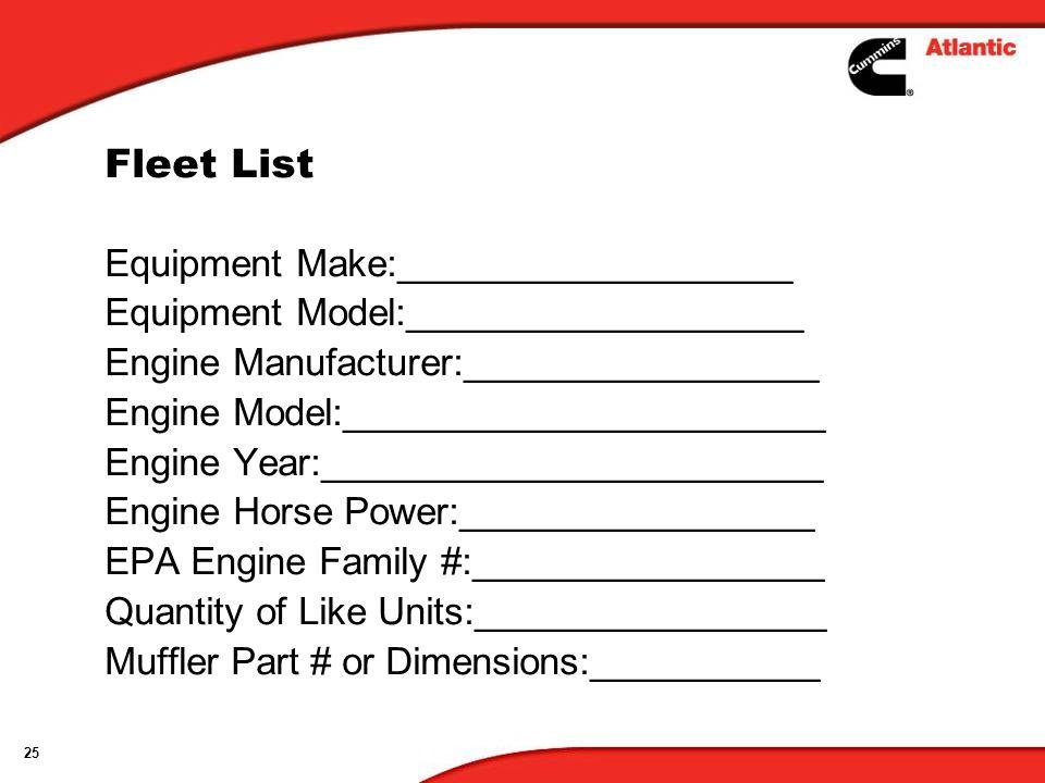 Fleet List Equipment Make:___________________