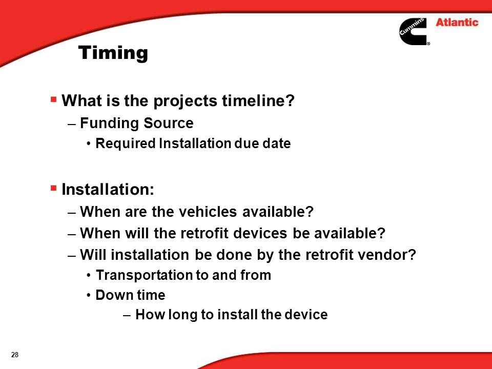 Timing What is the projects timeline Installation: Funding Source