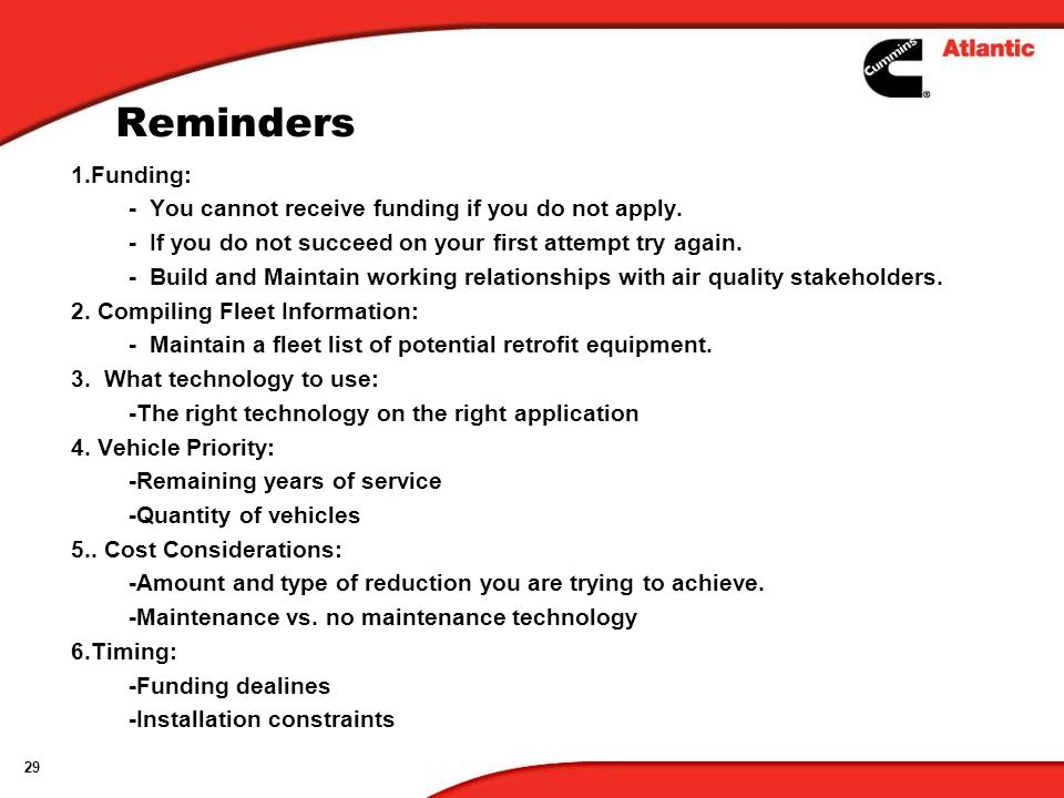 Reminders 1.Funding: - You cannot receive funding if you do not apply.