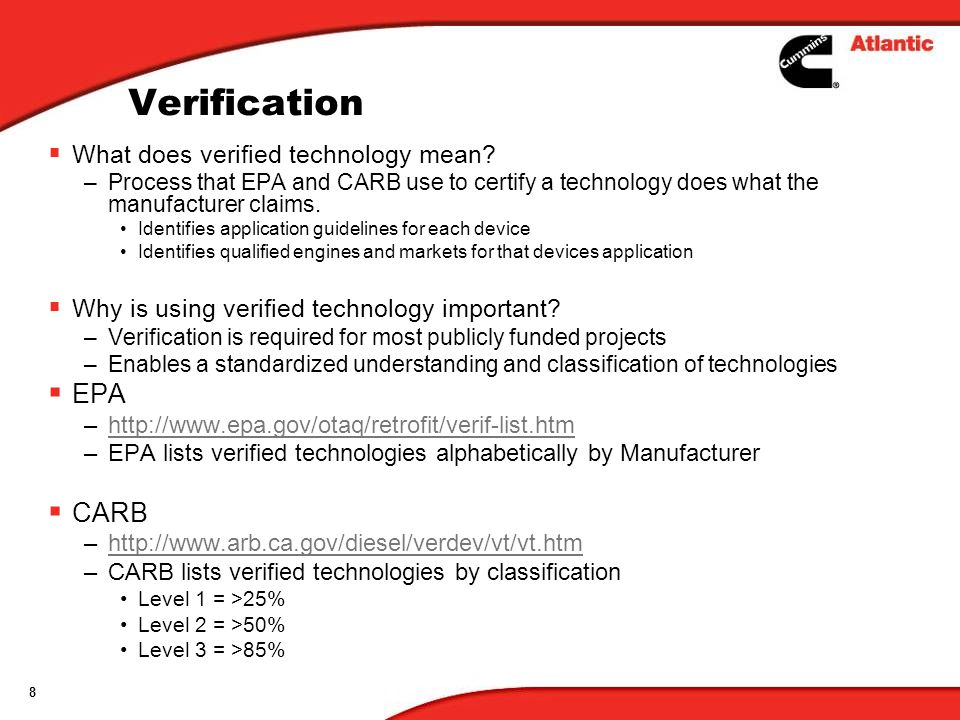 Verification EPA CARB What does verified technology mean