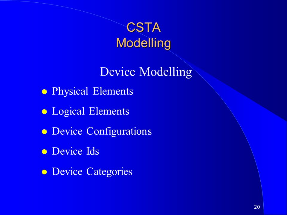 CSTA Modelling Device Modelling Physical Elements Logical Elements