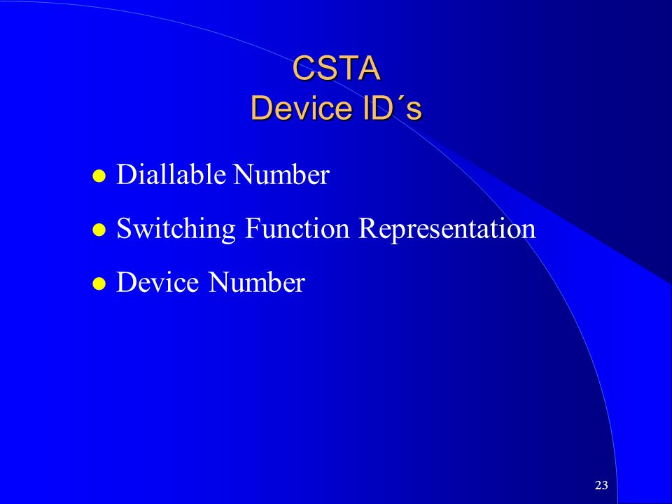 CSTA Device ID´s Diallable Number Switching Function Representation