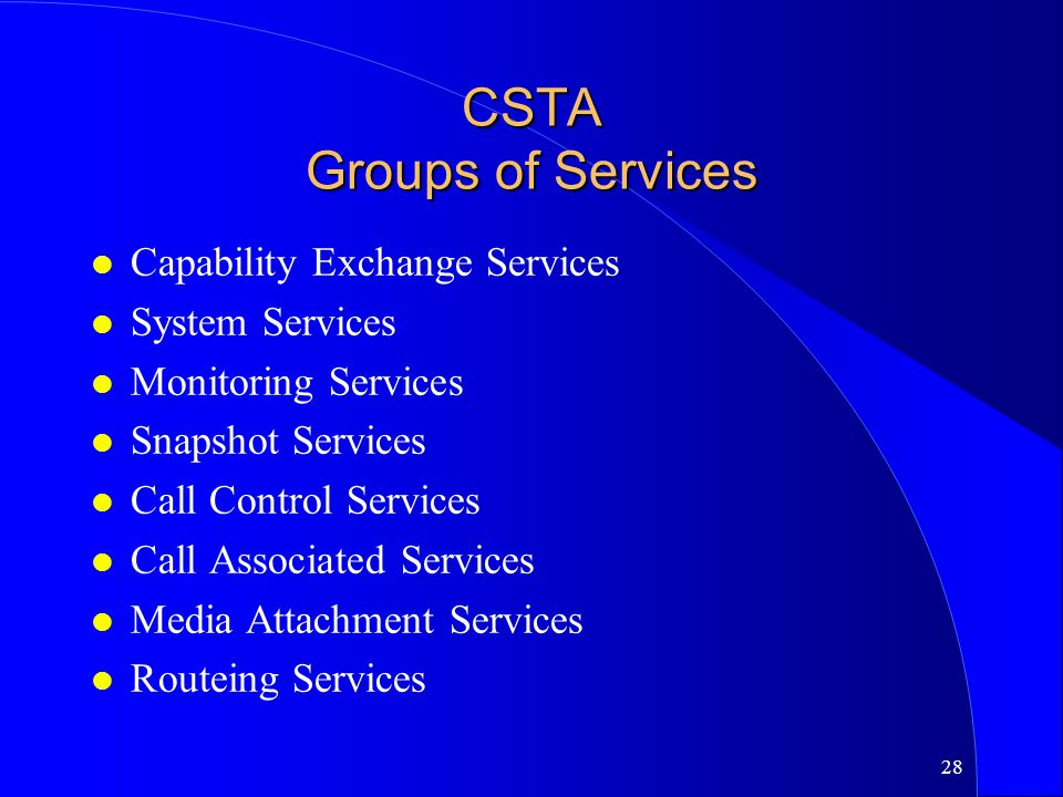 CSTA Groups of Services