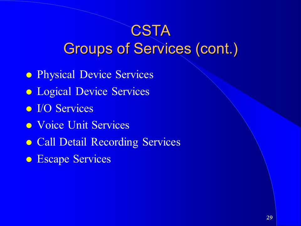 CSTA Groups of Services (cont.)