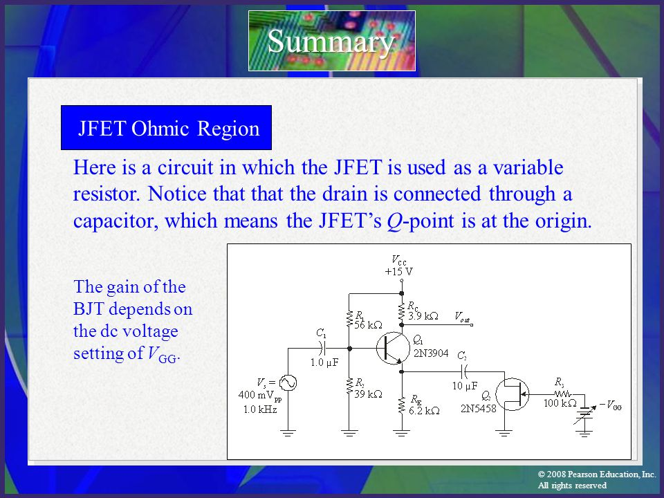 Summary JFET Ohmic Region