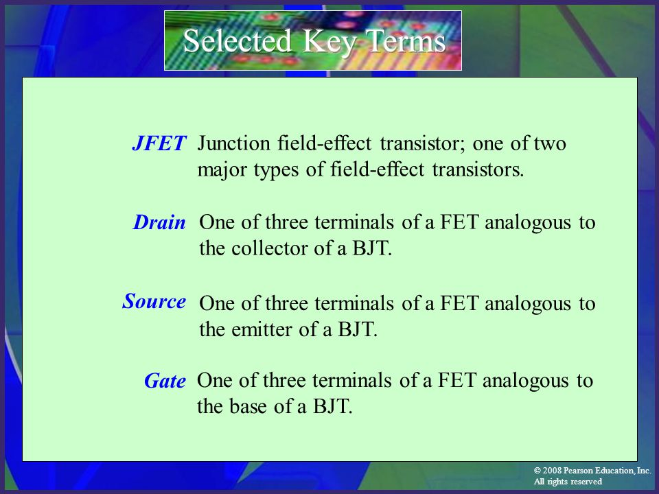 Selected Key Terms JFET Drain Source Gate