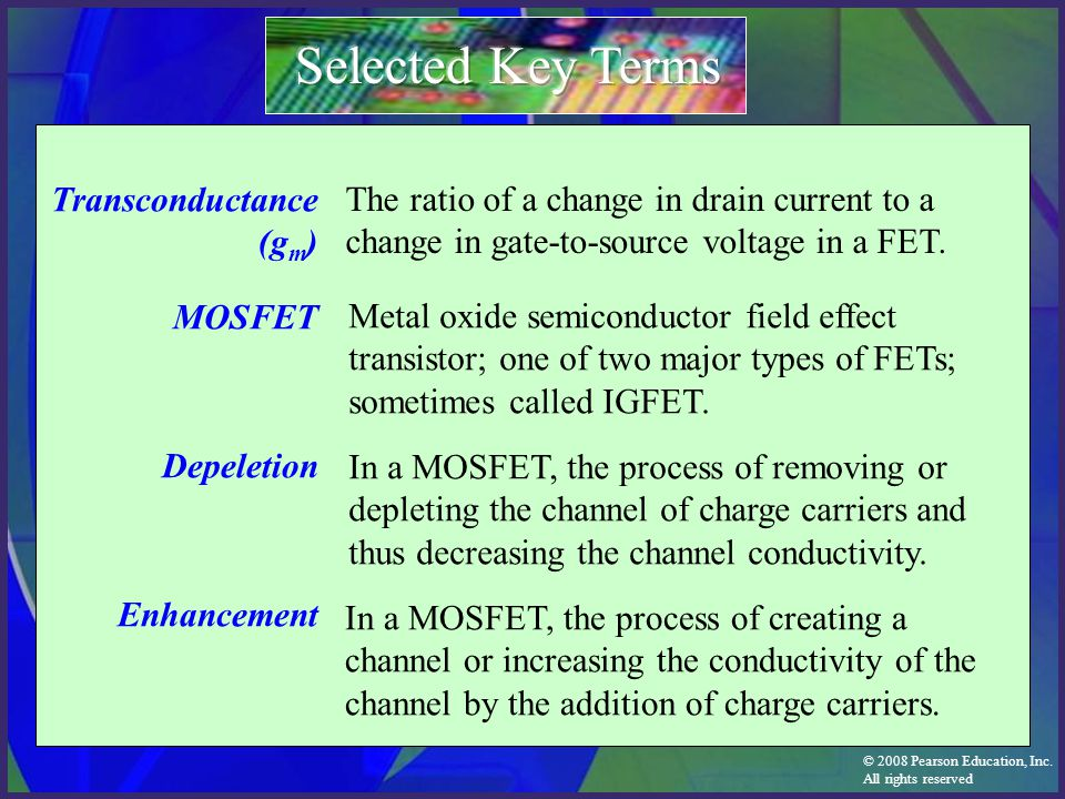 Selected Key Terms Transconductance (gm) MOSFET Depeletion Enhancement