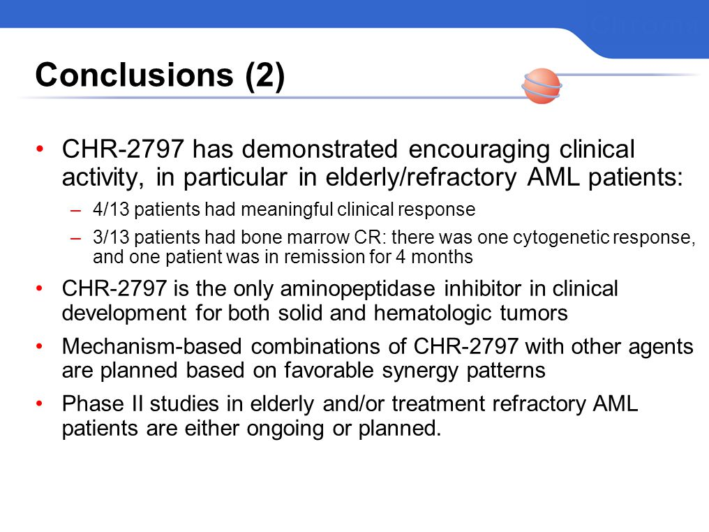 Conclusions (2) CHR-2797 has demonstrated encouraging clinical activity, in particular in elderly/refractory AML patients: