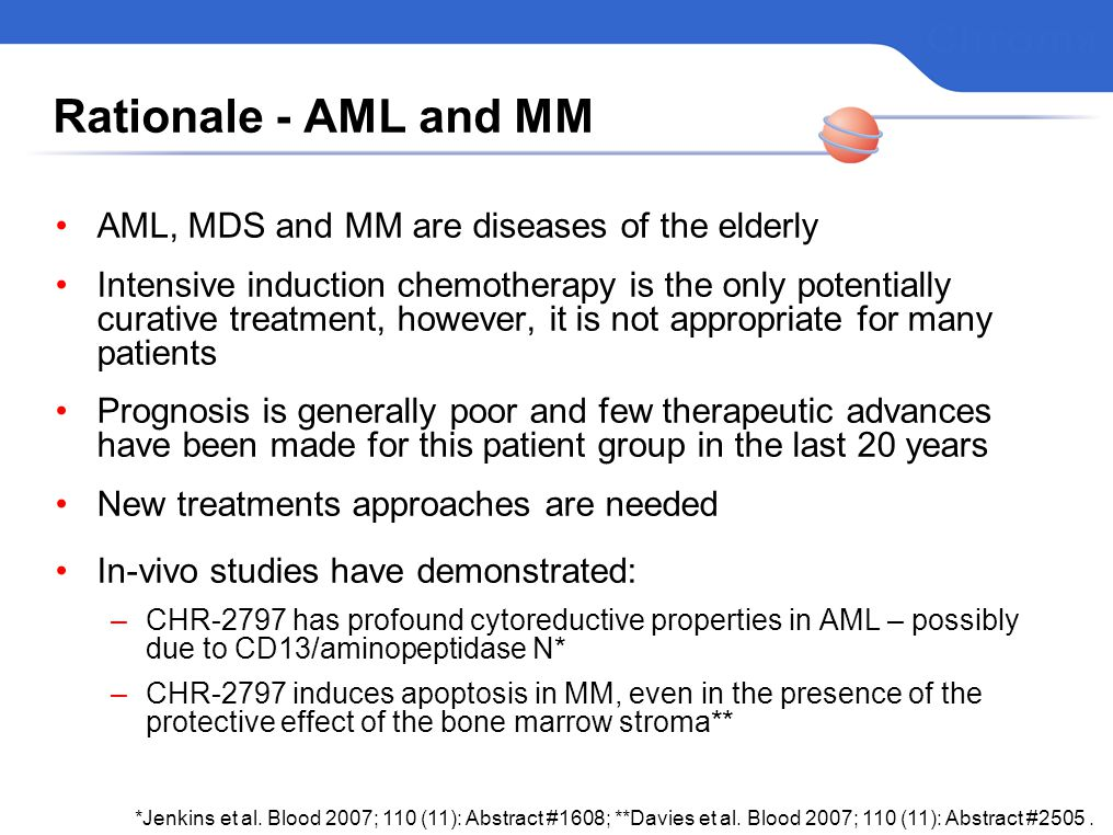 Rationale - AML and MM AML, MDS and MM are diseases of the elderly