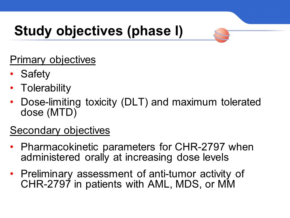 Study objectives (phase I)