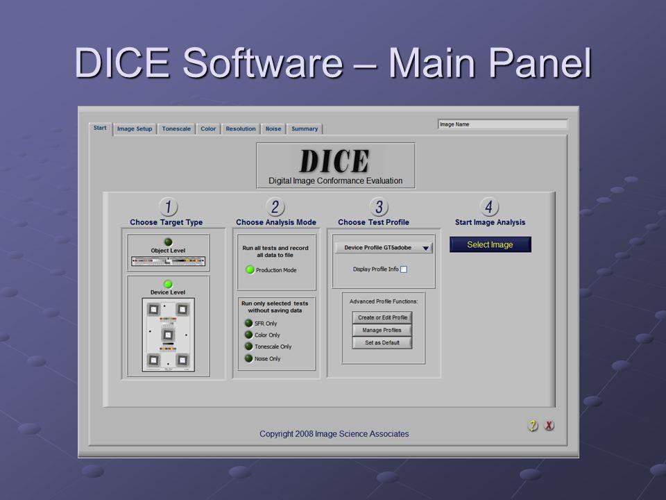 DICE Software – Main Panel